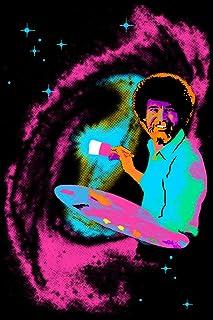 Bob Ross Blacklight Poster Classic Retro Trippy Flocked Felt Velvet UV Black Light..