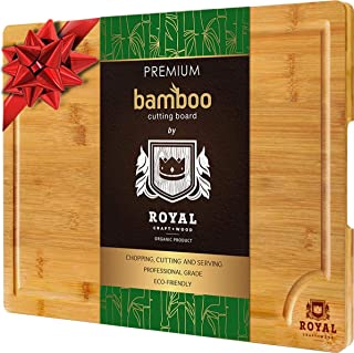 EXTRA LARGE Organic Bamboo Cutting Board with Juice Groove – Best Kitchen Chopping..
