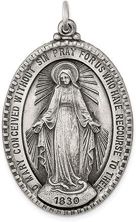 diamond2deal 925 plata de ley Antiqued Milagrosa Medalla Colgante