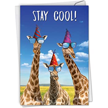 Amazon Com Nobleworks Cool Giraffes Funny Birthday Card With Envelope Colorful Greeting Card For Kids Boy Girl Zoo Animal Congratulations C6335bdg Office Products