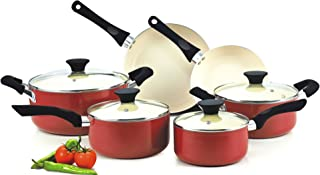 Cook N Home 10 Piece Nonstick Ceramic Coating Cookware Set, Red