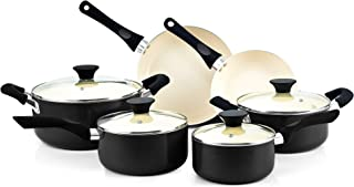 Cook N Home Ceramic coating cookware set, 10-Piece, Black