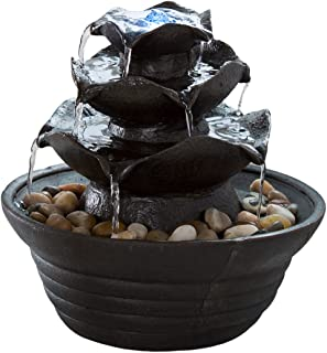 Indoor Water Fountain With LED Lights- Lighted Three Tier Soothing Cascading Tabletop..