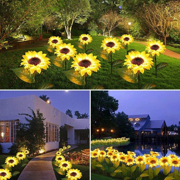 online sale GSBLUNIE Sunflower Solar Lights Outdoor Garden, Automatic Charging Solar Garden Lights Decorative, IP65 Waterproof LED Landscape Solar Powered Outdoor Lights for Garden Patio Lawn Yard-2 Pack - - the latest -