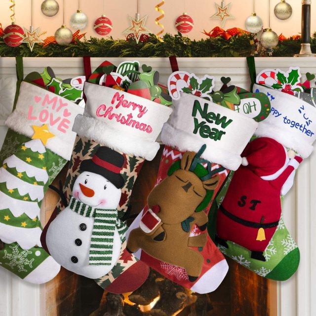 "Joy joz Personalized Christmas Stockings 27Packs with 27 Coloured Pens, 27""  Xmas Big Stockings with Santa, Snowman, Elk, Christmas Tree, Handmade, 27D"