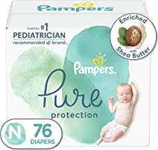 Diapers Newborn/Size 0 (<10 lb), 76 Count – Pampers Pure Protection Disposable..