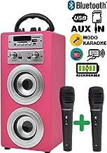 DYNASONIC - Altavoz Bluetooth con Karaoke 2 Micrófonos Radio y Lector USB SD, Color Rosa | Altavoz Inalámbrico Karaoke
