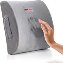 Lumbar Pillow Back Pain Support – Seat Cushion For Car or Office Chair | Memory..