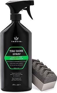 TriNova Tire Shine Spray No Wipe – Automotive Clear Coat Dressing for Wet &..