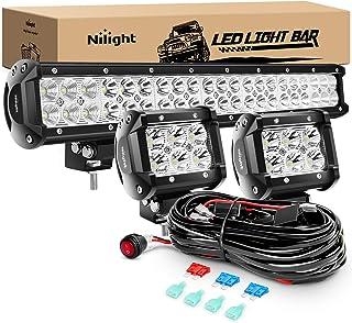 Nilight 20Inch 126W Spot Flood Combo Led Off Road Led Light Bar 2PCS 18w 4Inch Spot LED..