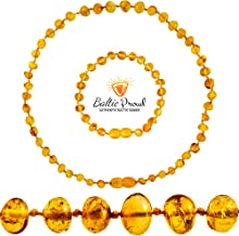 Baltic Amber Necklace and Bracelet Gift Set (Unisex Honey 12.5 Inches/5.5 Inches) –..