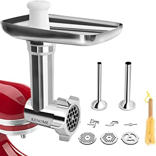 Metal Food Grinder Attachment for KitchenAid Stand Mixers Includes 2 Sausage Stuffer..