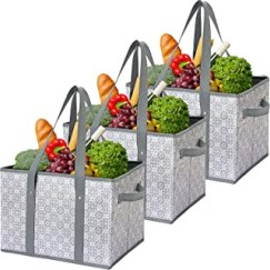 WiseLife Reusable Grocery Bags Storage Baskets Shopping Bags [3 Pack],Water Resistant Foldable Collapsible Large Storage B...