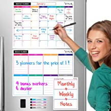 STYLIO Dry Erase Calendar Whiteboard. Set of 3 Magnetic Calendars for Refrigerator:..