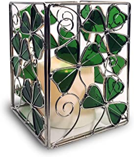 BANBERRY DESIGNS Shamrock Candle Holder with a LED Candle - Stained Glass Shamrocks and a Flameless Candle - Irish Candle Holder