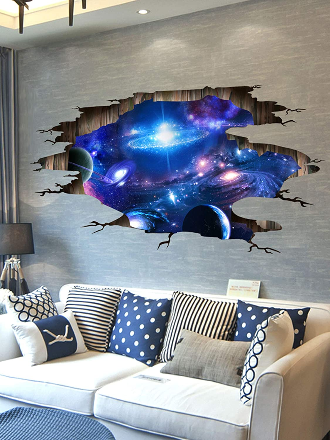 Amazon Com Sengter Outer Space Decor 3d Wallpaper Ceiling Stars Planet Galaxy Decor Wall Mural Waterproof Removable Kids Wall Decals Posters For Boys Room Living Room Wall Decor Sticker Cool Room Decor
