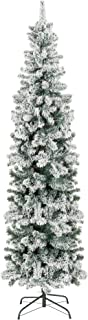 Best Choice Products 7.5ft Snow Flocked Artificial Pencil Christmas Tree Holiday..
