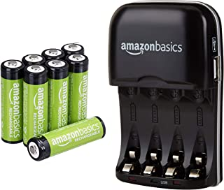 AmazonBasics AA Rechargeable Batteries (8-Pack) and Ni-MH AA & AAA Battery Charger..