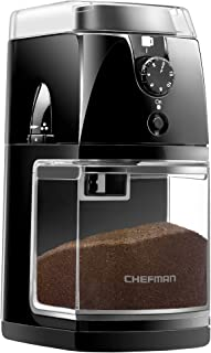 Chefman Coffee Grinder Electric Burr Mill – Freshly Grinds Up to 2.8oz Beans, Large..