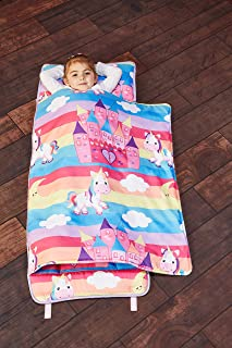 EVERYDAY KIDS Toddler Nap Mat with Removable Pillow – Unicorn Dreams – Carry..