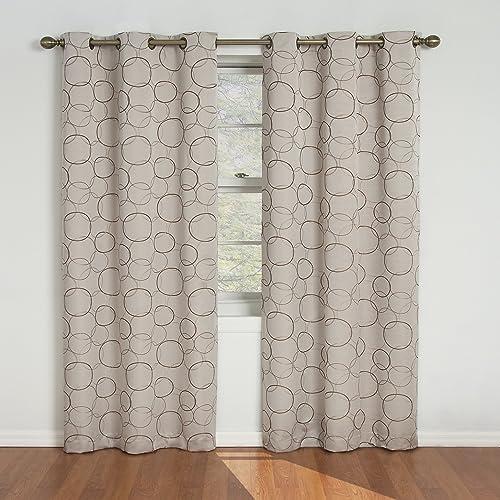 Eclipse Meridian 84 Inch Blackout Window Curtain Panel Linen