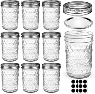Mason Jars 8 OZ, AIVIKI Glass Regular Mouth Canning Jars with Silver Metal Airtight Lids and Bands for Sealing, Canning, D...