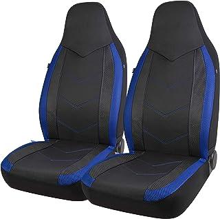 PIC AUTO High Back Car Seat Covers – Sports Carbon Fiber Mesh Design, Universal..