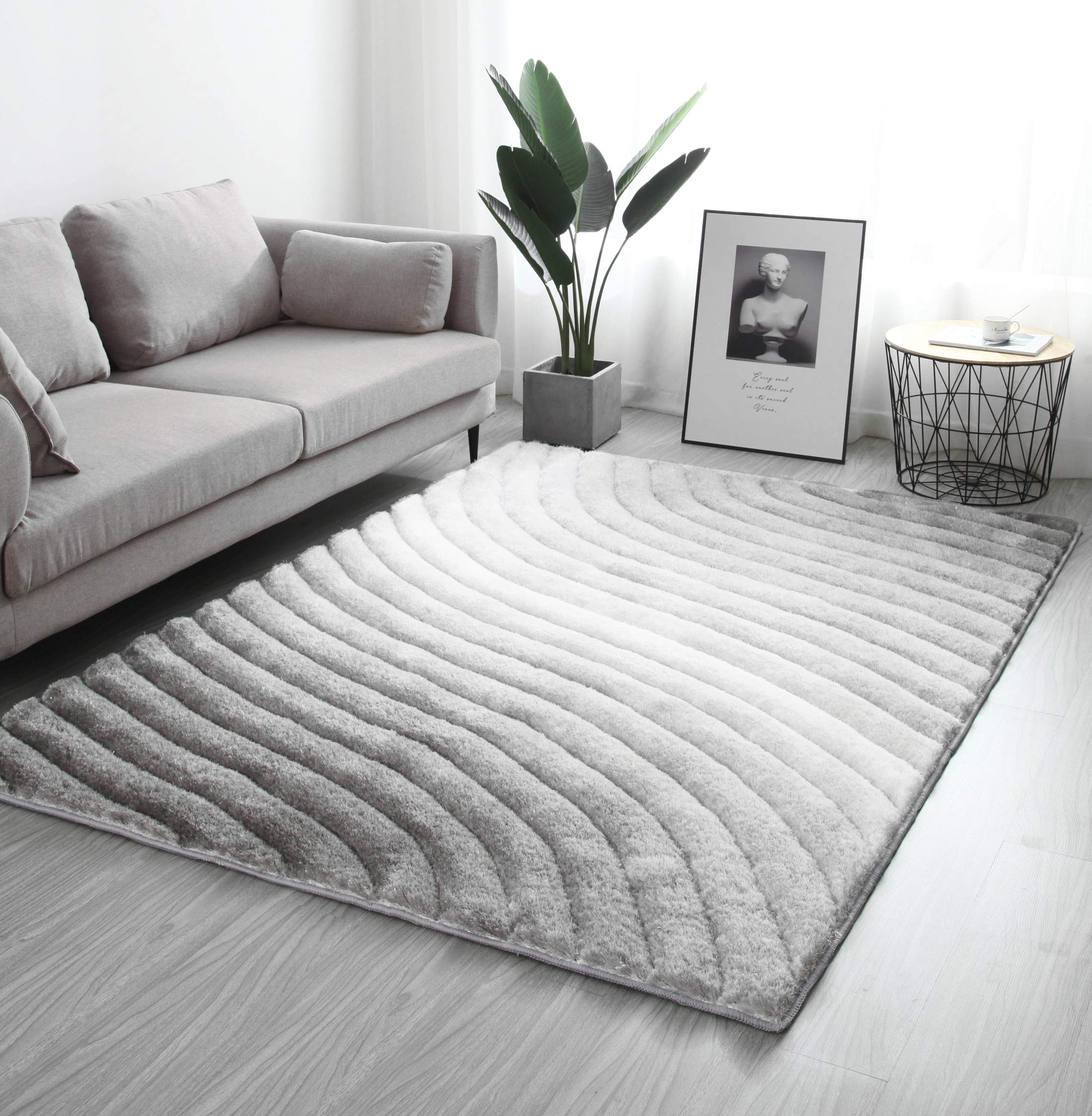 Modern Style Rugs Living Room Black Silver Grey White Sparkle Fluffy Soft Touch Pile Extra Large 3d Shaggy Rug White Grey 120x170cm Amazon Co Uk Kitchen Home