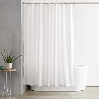 AmazonBasics Mold and Mildew Resistant Shower Curtain with Hooks, 72-Inch, White