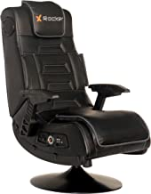 X Rocker Pro Series 2.1 Vibrating Black Leather Foldable Video Gaming Chair with Pedestal..