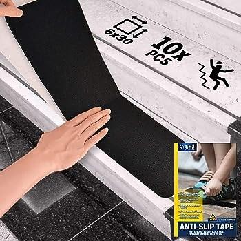 "6""X30"" Anti Slip Tape Outdoor Stair Treads Non Slip 10 Packs | Amazon Outdoor Stair Treads | Self Adhesive | Non Skid | Rubber Backing | Rubber Stair | Carpet Stair"