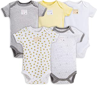 Burt's Bees Baby Unisex Baby Bodysuits, 5-Pack Short & Long Sleeve One-Pieces,..