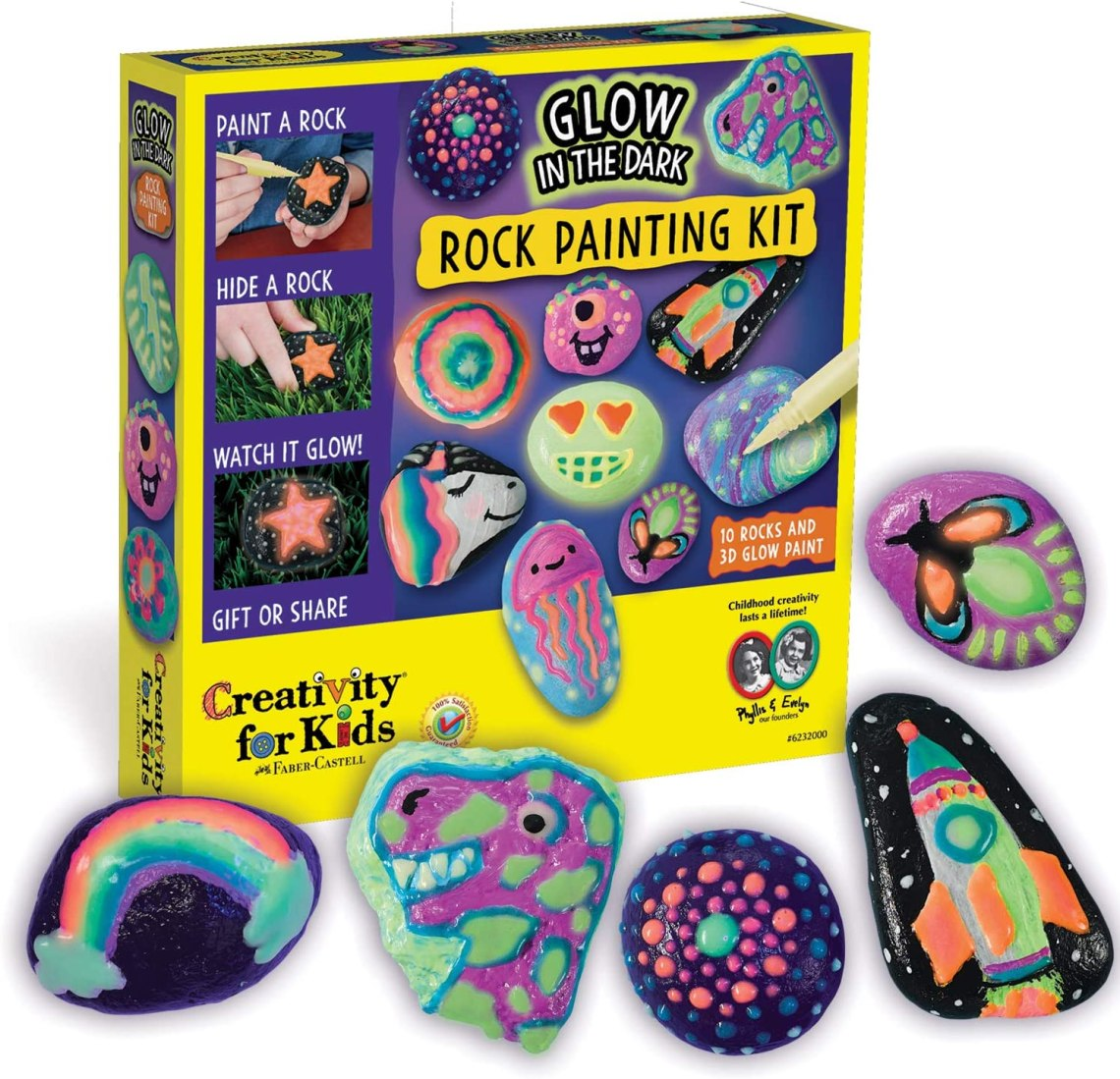Amazon Com Creativity For Kids Glow In The Dark Rock Painting Kit Paint 10 Rocks With Water Resistant Glow Paint Crafts For Kids Toys Games