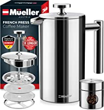 Mueller French Press 20% Heavier Duty Double Insulated 310 Stainless Steel Coffee Maker 4..