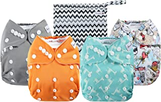 Anmababy 4 Pack Adjustable Size Waterproof Washable Pocket Cloth Diapers with 4 Inserts..