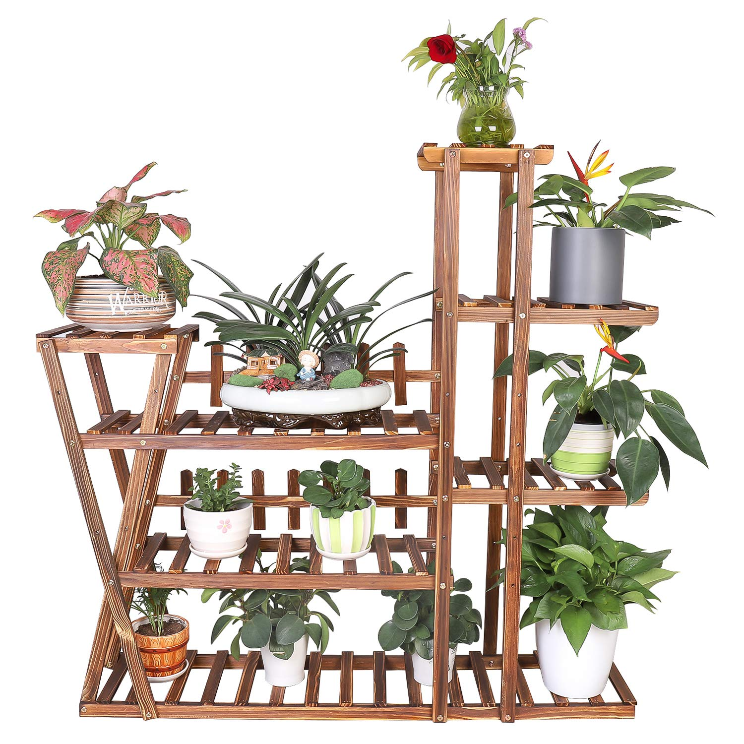 Unho Wood Plant Stand Indoor Plant Shelf Buy Online In Gibraltar At Desertcart