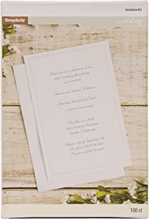 Simplicity White Wedding Invitation Cards with Envelopes, 100pc, 5.5'' W x..