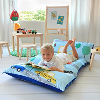 Butterfly Craze Kid's Floor Pillow Bed Cover – Use as Nap Mat, Portable..