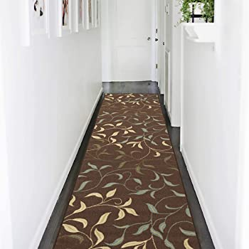 Amazon Com Ottomanson Oth2068 3x10 Ottohome Runner Rug 2 7 X 10 0 Chocolate Leaves Home Kitchen