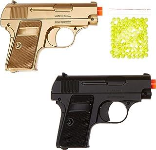 BBTac Airsoft Spy Handgun – Twin Pack Pocket Pistol Gun with Storage Case (Gold & Black)