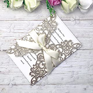 PONATIA 25PCS 5.12 x 7.1 '' Laser Cut Wedding Invitations Cards with Envelopes..