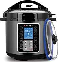 Mueller 6 Quart Pressure Cooker 10 in 1, Cook 2 Dishes at Once, Tempered Glass Lid incl,..
