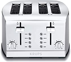 KRUPS KH734D Breakfast Set 4-Slot Toaster with Brushed and Chrome Stainless Steel..