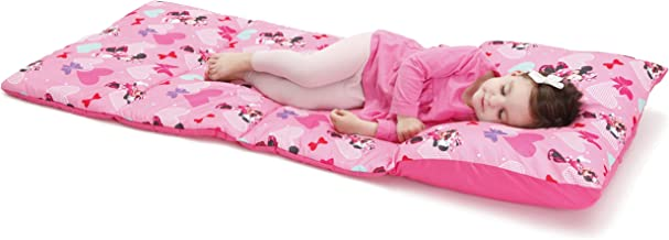 Disney Minnie Mouse Padded Toddler Easy Fold Nap Mat With Attached Pillow Case – Pink,Aqua