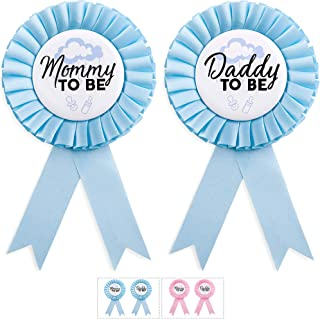 CORRURE Baby Shower Button Pins – 'Mommy to Be' and 'Daddy to..