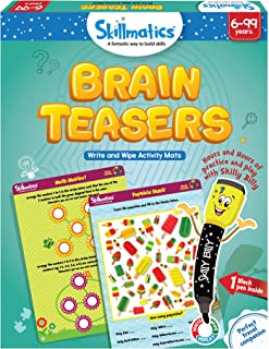 Skillmatics Educational Game: Brain Teasers (6-99 Years) | Erasable and Reusable Activity..