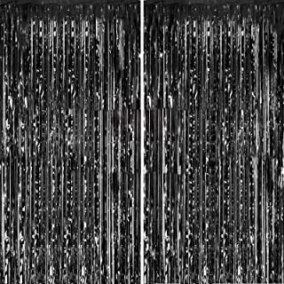 Fecedy 2pcs 3ft x 8.3ft Black Metallic Tinsel Foil Fringe Curtains Photo Booth Props for..