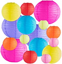 16 Pack Assorted Colorful Decorative Chinese/Japanese Floating Sky Paper Lanterns Metal..