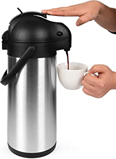 101 Oz (3L) Airpot Thermal Coffee Carafe and Coffee Server/Lever Action/Stainless Steel..