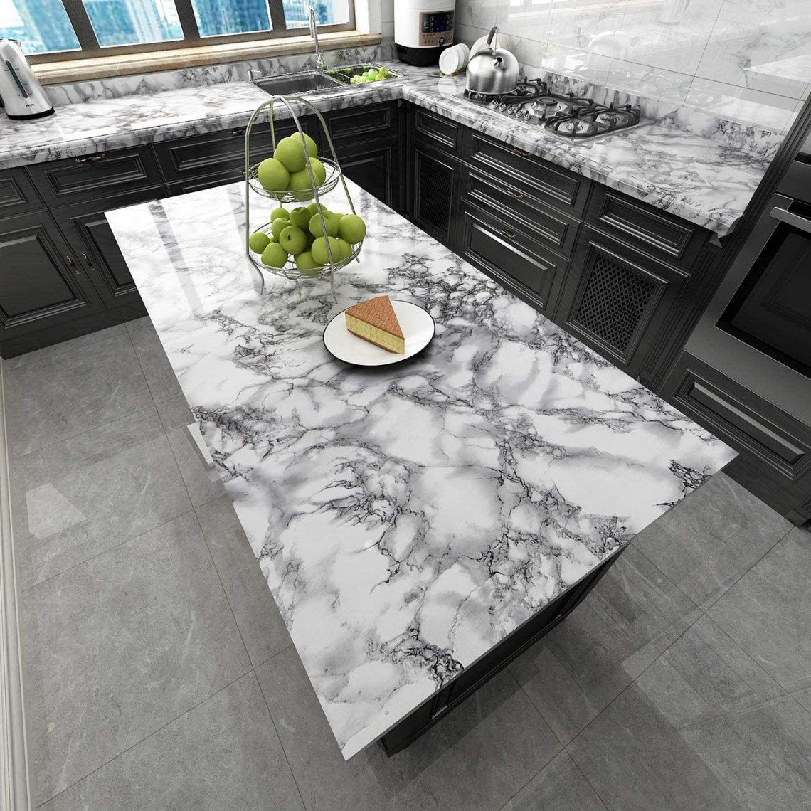 Amazon Com Homeme Marble Wallpaper 197 X 15 7 Self Adhesive Wallpaper Waterproof Oil Proof Decorative Removable Pvc Wall Paper For Kitchen Bathroom Countertop Cabinets Furniture Renovation Ink White Home Improvement